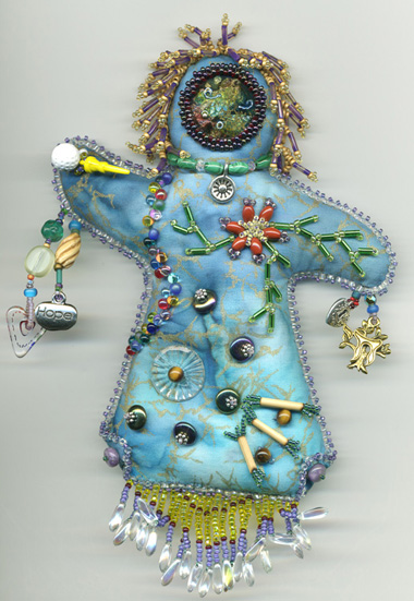 beaded spirit dolls artwork by beader and enamelist