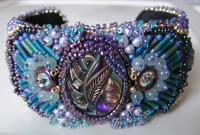 Enamelist & Beader Karen L. Cohen - Bead Embroidery Bracelet Cuffs :  beaded bead work bracelet cloissone