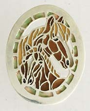mare and foal button plique a jour